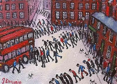 Antique Superb James Downie Oil Painting - Busy Street Scene With People And Red Buses