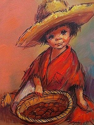 Antique Barry Leighton-Jones Oil Painting - Young Boy (Child Urchin) Holding A Basket