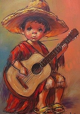 Antique Barry Leighton-Jones Oil Painting - Young Boy (Child Urchin) Playing A Guitar