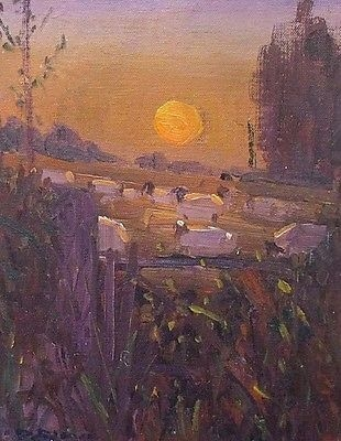 Antique David Rylance (St Ives School) Rural Landscape Oil Painting - Sheep At Sunset