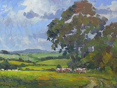 Antique Superb David Rylance Rural Countryside Landscape Oil Painting With Farm Animals