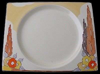 Antique Fabulous Large Clarice Cliff Biarritz Capri Pattern Plate - 1930's Art Deco