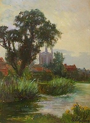 Antique Fine Antique Eva Walbourn Oil Painting - Rural Landscape With River And Church