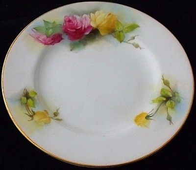 Antique Beautiful Royal Worcester Plate Painted With Roses Dating To 1909