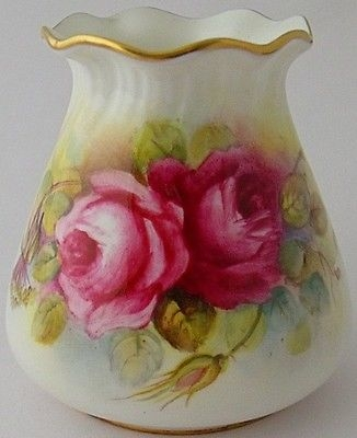 Antique Fabulous Royal Worcester G957 Vase Painted With Roses By P Huntley Circa 1951