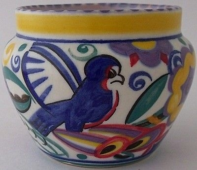 Antique Stunning Early Poole Pottery QB Comical Bird Vase By Truda Carter - Art Deco