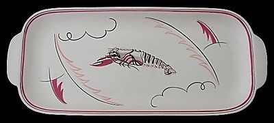 Antique Stylish Large Poole Pottery Crayfish Tray Designed By Truda Carter - 1950's