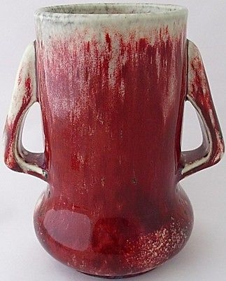 Antique Outstanding Ruskin Pottery High Fired Sang De Boeuf Flambe Twin Handled Vase
