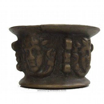 Antique Bronze mortar with relief decoration