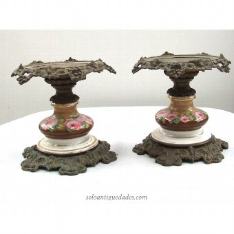 Antique Pair of metal and porcelain Orchard