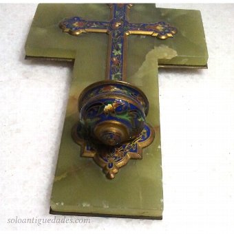Antique Benditera onyx cross decorated with enamelled