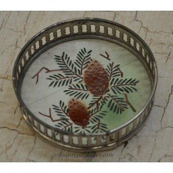 Antique Tray decorated with two cones
