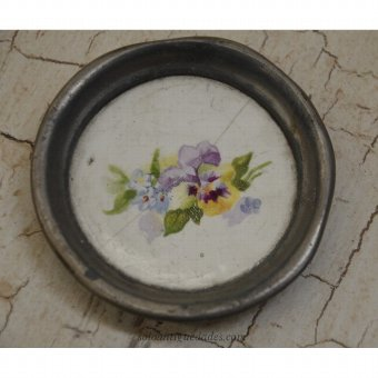 Antique Tray decorated with colorful flowers