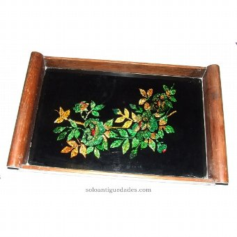 Antique Wooden tray with paint on glass
