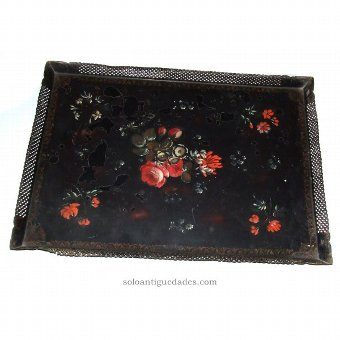 Antique Metal tray with floral motifs