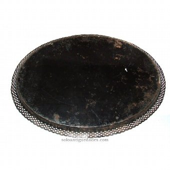 Antique Metal tray with oval