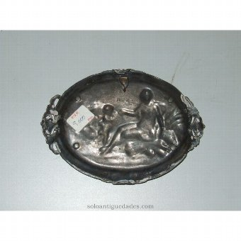 Antique Metal tray with country scene