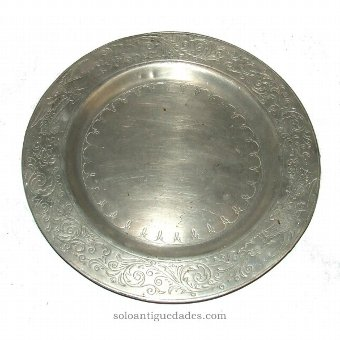 Antique Silver tray with plant