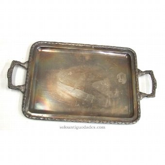 Antique Rectangular tray with geometric