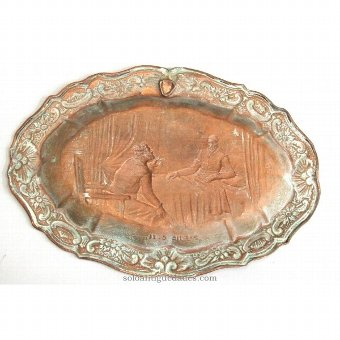 Antique Tray with two male figures