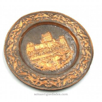 Antique Brass tray embossed castle