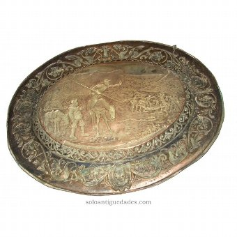 Antique Embossed tin tray of Don Quixote