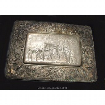 Antique Metal tray with rounded corners