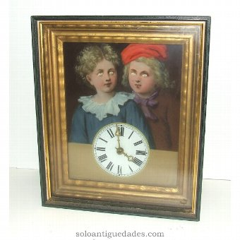 Antique Black Forest Clock type. Decorated with children.
