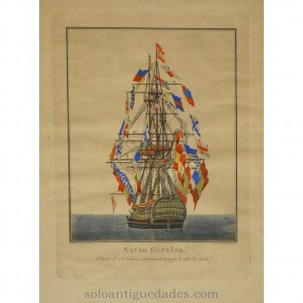 "Antique Etching ""Spanish Ship"""