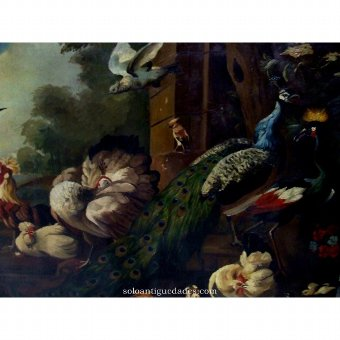 Antique Oil on canvas with birds