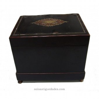 Antique Old wooden box liquor ebonised