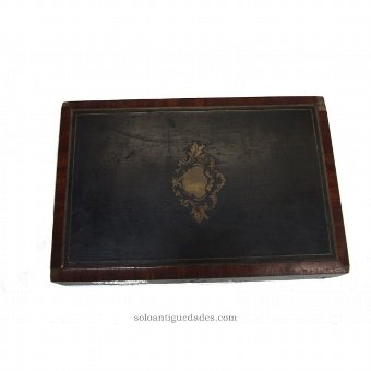 Antique Old wooden jewelry box ebonised