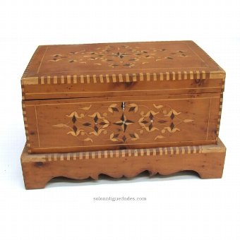 Antique Trunk box with inlaid wood type collection