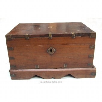Antique Antigua collection box with metal spikes