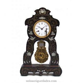 Antique French clock with marquetry