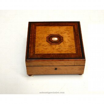 Antique Wooden collection box and pearl