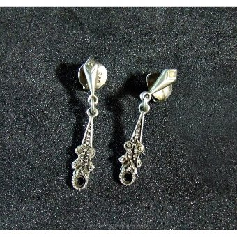 Antique Silver earrings with pyramidal