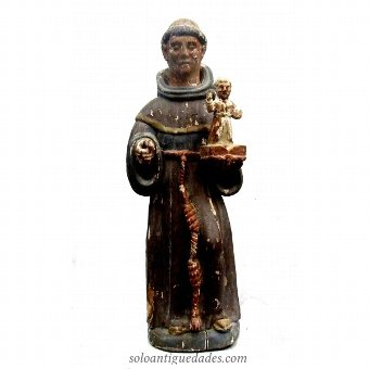 Antique Sculpture of St. Anthony of Padua with baby Jesus