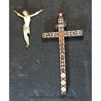 Antique Wooden crucifix with ivory Christ