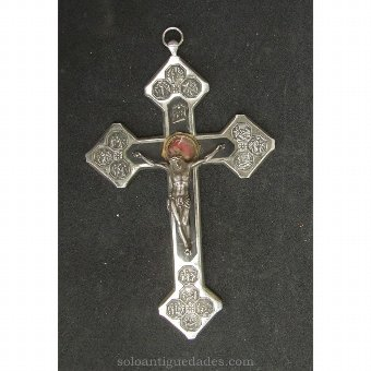 Antique Silver crucifix reliquary and inlaid wood