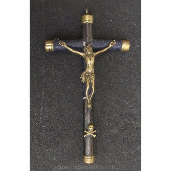 Antique Crucifix of wood, paper and bronze