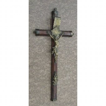 Antique Wood and metal crucifix