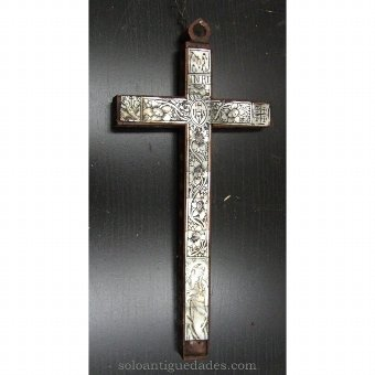 Antique Wooden crucifix with plant motifs and pearl