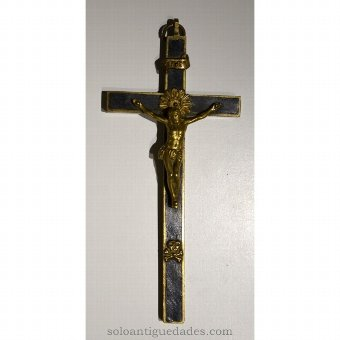 Antique Crucifix with Heart of Jesus