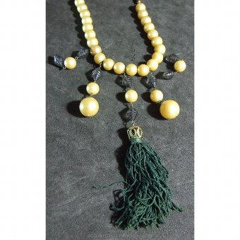 Antique Tassel necklace with beads and green