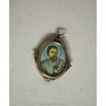 Antique Medallion with image of St. Peter Apostle