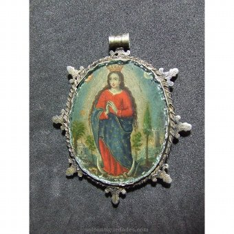 Antique Medallion with image of the Virgin of Guadalupe