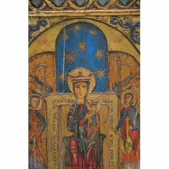 Antique Theotokos Wooden Relief