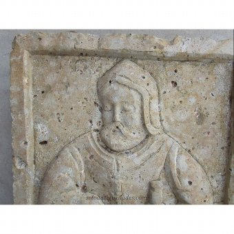 Antique Bible character limestone relief