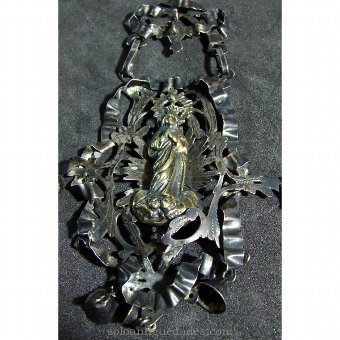 Antique Silver Rattle figure of the Virgin Mary